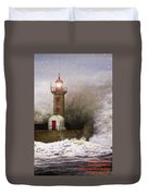 Lighthouse Weathering A Storm At Sea H A Duvet Cover