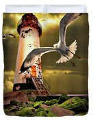 Lighthouse With Seagulls Duvet Cover