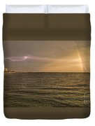 Lightning And Rainbow, Fort Myers Beach, Fl Duvet Cover