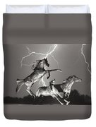 Lightning At Horse World Duvet Cover
