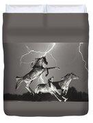 Lightning At Horse World Duvet Cover
