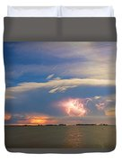 Lightning At Sunset With Star Trails Duvet Cover