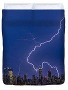 Lightning Bolts Over New York City Duvet Cover