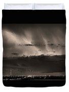 Lightning Cloud Burst Boulder County Colorado Im39 Sepia Duvet Cover