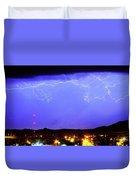 Lightning Over Loveland Colorado Foothills Panorama Duvet Cover