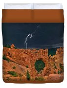 Lightning Over Natural Bridge Formation Bryce Canyon National Park Utah Duvet Cover by Dave Welling