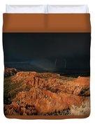 Lightning Rainbow Over Hoodoos Bryce Canyon National Park Utah Duvet Cover