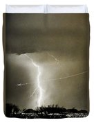 Lightning Storm City Lights Jet Airplane Fine Art Photography Duvet Cover