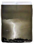 Lightning Storm City Lights Jet Airplane Fine Art Photography Duvet Cover