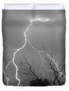 Lightning Storm On 17th Street Bw Fine Art Print Duvet Cover