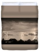 Lightning Thunderstorm July 12 2011 Strikes Over The City Sepia Duvet Cover