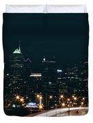 Lights Of Philadelphia Duvet Cover