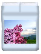 Lilacs And Green Pastures Duvet Cover