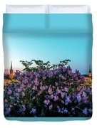 Lilacs And Sunset To Blue Hour Transition Over Gamla Stan In Stockholm Duvet Cover