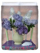 Lilacs With Chair And Shell Duvet Cover