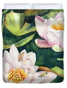 Lilies And Dragonflies Duvet Cover