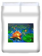 Lilies By The Pond Duvet Cover