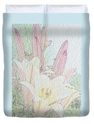 Lilies. Flowers And Buds. Duvet Cover