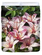 Lilies In Pink Duvet Cover