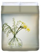 Lilies Of The Valley In A Glass Vase Duvet Cover