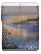 Lilies' Violet, Original Watercolor Duvet Cover