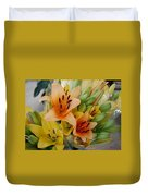 Lillies - Peach And Yellow Colors Duvet Cover