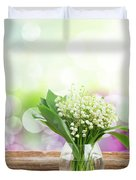 Lilly Of Valley Posy In Glass Duvet Cover