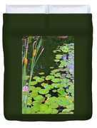 Lillypads And Cattails Duvet Cover