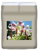 Lily Flower Close Up Macro Pink Lilies Blue Sky Baslee Duvet Cover