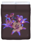 Lily Flowers Blue Maroon Duvet Cover