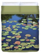 Lily Pads On Blue Pond Duvet Cover