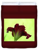 Lily Red On Yellow Green - Daylily Duvet Cover