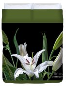 A White Oriental Lily Surrounded Duvet Cover