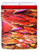 Crimson Lilypads Floating.. Duvet Cover