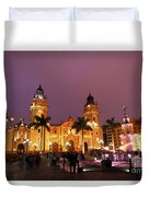 Lima Cathedral And Plaza De Armas At Night Duvet Cover