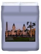 Lima Cathedral At Night Duvet Cover