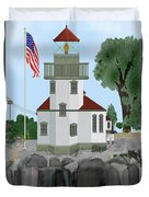 Lime Kiln Light On San Juan Island Duvet Cover