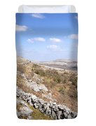 Limestone Pavements And Dry-stone Walls, Fahee North, Burren, County Clare, Ireland Duvet Cover