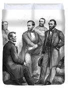 Lincoln And His Generals Black And White Duvet Cover
