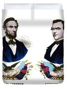 Lincoln And Johnson Campaign Poster Duvet Cover by War Is Hell Store