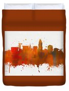 Lincoln Nebraska Colorful Skyline Duvet Cover