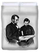 Lincoln Reading To His Son Duvet Cover