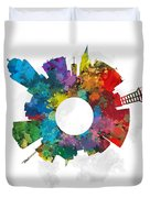 Lincoln Small World Cityscape Skyline Abstract Duvet Cover