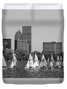 Line Of Boats On The Charles River Boston Ma Black And White Duvet Cover