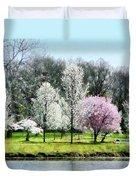 Line Of Flowering Trees Duvet Cover