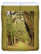 Line Of Oak Trees To Distance Duvet Cover