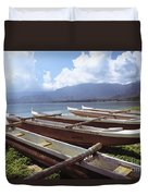Line Of Outrigger Canoes Duvet Cover by Joss - Printscapes