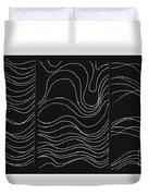 Lines 1-2-3 White On Black Duvet Cover