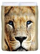 Lion Art - Blue Eyed King Duvet Cover by Sharon Cummings