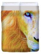 Lion Blue By Nicholas Nixo Efthimiou Duvet Cover